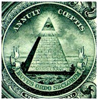 Pyramid & eye of U.S. Great Seal on dollar bill: 'Novus Ordo Seclorum'